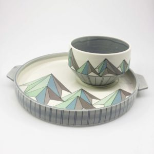 Low Poly Mountain Tray and Bowl Set